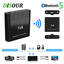 Disour receptor bluetooth tx8 5.0, transmissor com botão de controle de volume e adaptador de áudio sem fio 2 em 1 3.5mm aux para pc para tv do carro