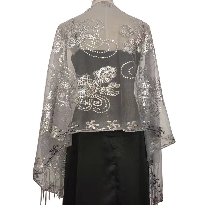 Elegant Evening Dress Shawls Ladies Tassels Embroidery 200*58CM Sequins Decoration Handmade Bride Banquet Accessories Shawls