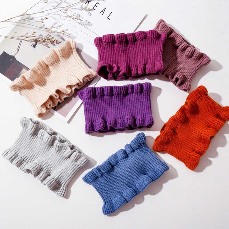 Sparsil Wanita Musim Dingin Rajutan Cincin Scarf Musim Semi Musim Gugur Fashion Kerah Leher Warna Solid Telinga Kerah Wol Kecil Syal Wanita Gadis