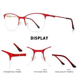 Image 2 - MERRYS tasarım kadınlar kedi göz gözlük yarım çerçeve bayanlar moda trend gözlük miyopi reçete optik gözlük S2006