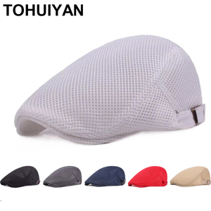 TOHUIYAN Breathable Mesh Newsboy Cap Men Boina Cabbie Cap Summer Autumn Streetwear Golf Hat Gorras Planas Flat Caps for Women
