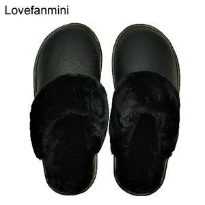 Image 3 - 정품 암소 가죽 슬리퍼 커플 실내 미끄럼 방지 남성 여성 홈 패션 캐주얼 신발 pvc 소프트 솔 겨울 611gp