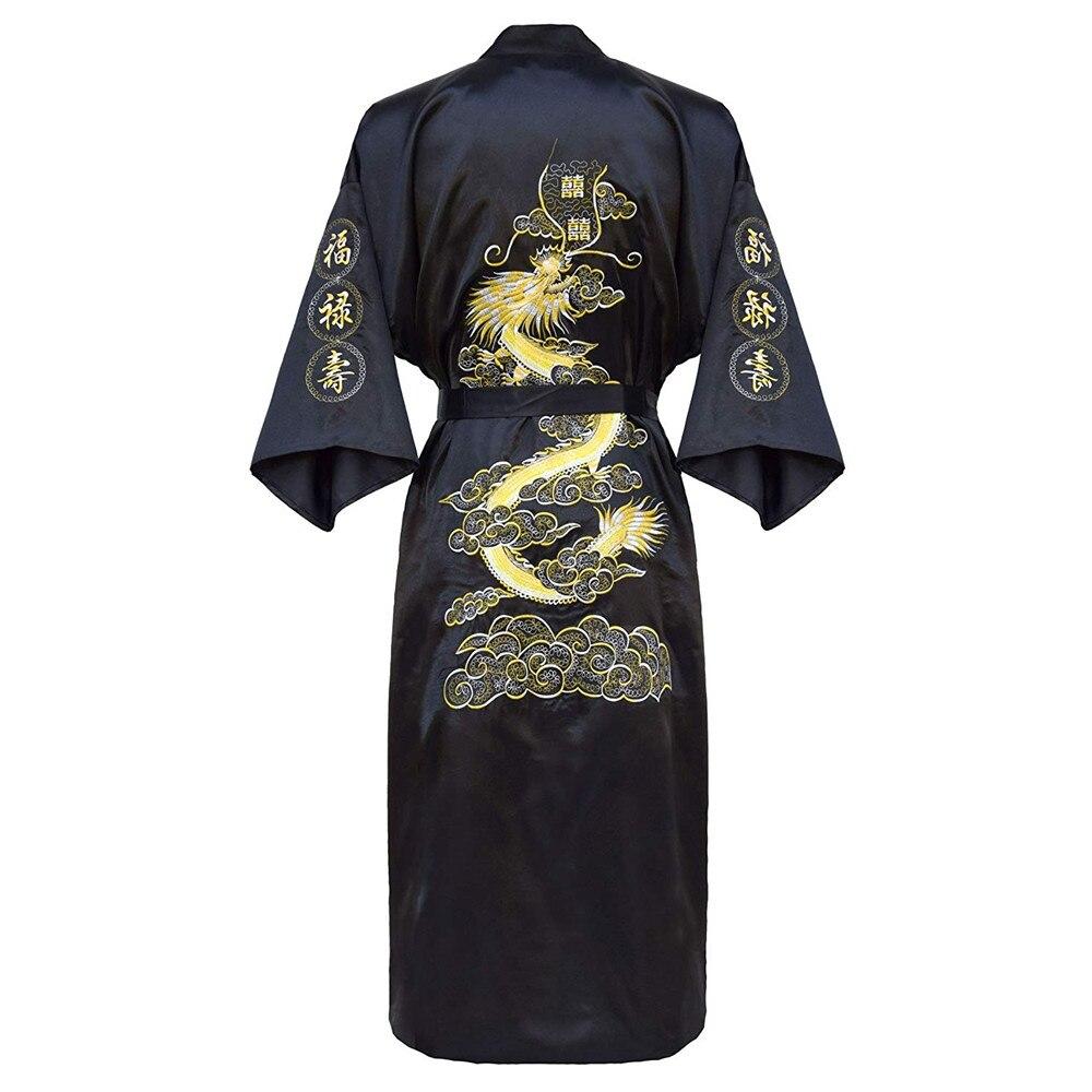 401.48руб. 30% СКИДКА|Роскошное кимоно, халат, домашняя одежда, большой размер 3XL, мужской халат с вышивкой китайского дракона, Мужская одежда для сна, свободная Ночная одежда|Халаты| |  - AliExpress