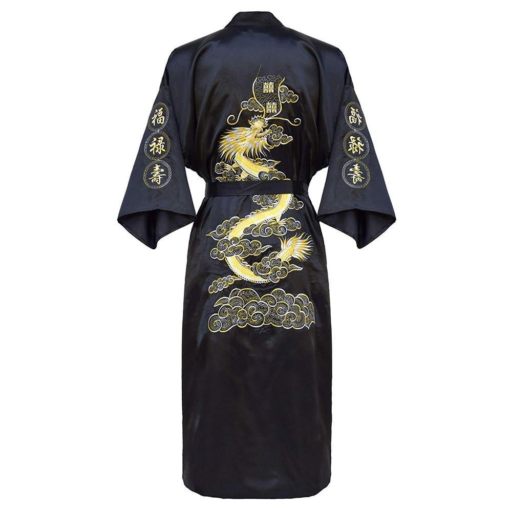 Luxury Kimono Bathrobe Gown Home Clothing Oversize 3XL Men Embroidery Chinese Dragon Robe  Male Sleepwear Loose Nightwear