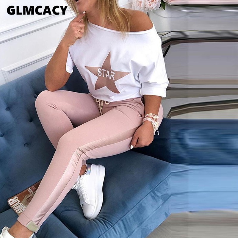 Women Two Piece Matching Sets Star Print Top & Drawstring Design Pant Sets Chic Casual Sweatsuit