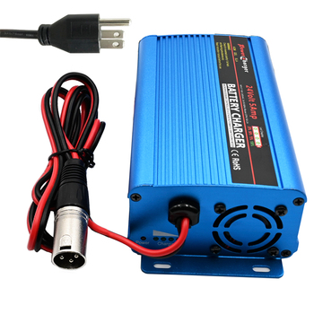 24 Volt 5A Automatic Battery Charger with XLR Connector for Car Wheelchair Motorcycle eBike Electric Tools Emergency Light Porta