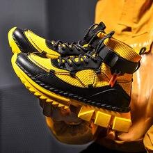 Baskets montantes pour hommes, chaussettes jaunes de grande taille 47, de haute qualité, avec plateforme Superstar, pour l'automne