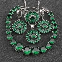 Wedding Costume Silver 925 Jewelry Sets Women Green Zircon Earrings With Stones Rings Pendant&Necklace Bracelets Set Gift Box