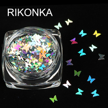 1 Box Holographic Butterfly Shape Nail Glitter Flakes Sparkly 3D Colorful Sequins Spangles Polish Manicure Nails Art Decoration cheap RIKONKA RKBF Plastic Rhinestone Decoration 1 piece Round Butterfly Metal Silver Red Yellow Blue Purple Green Pink White