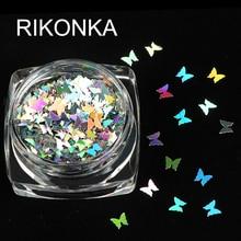 1 caja holográfica forma de mariposa copos de brillantina para uñas brillante 3D lentejuelas coloridas lentejuelas esmalte manicura decoración para uñas