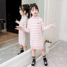 Korean Style Baby Girl Cable Knit Sweater New Year Kids Knitted Pullover Wool Sweater Long Sleeve Girl Stripe Knit Sweater Dress