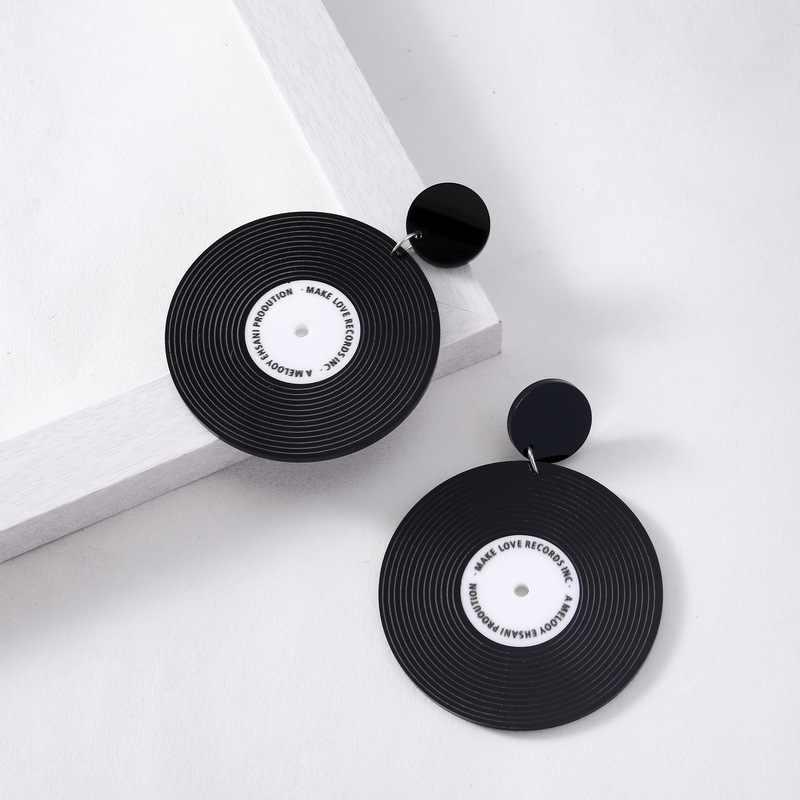 Vintage Black Vinyl Record Earrings Personality round Record Drop Earri S4