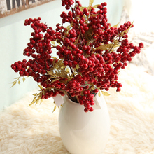 5PC Christmas Red Artificial Fruit Berries Beans Flowers Home Decorative Fake Flowers For Wedding Party Garden Decor Floral