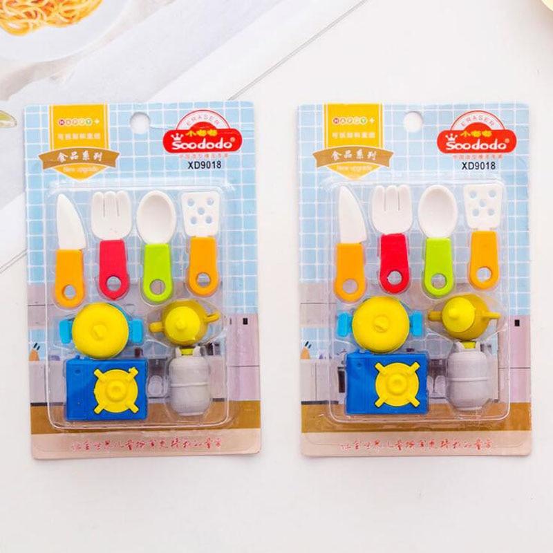 8pcs Cartoon Eraser Kitchen Stove Kitchenware Pencil Eraser Creative For Kindergarten Toy Kids Funny Erasers School Supplies