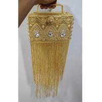 DOYUTIG India Design Women Long Tassels Hand Made Rhinestone Beads Box Clutches Lady Classical Box Evening Bags For Wedding F697