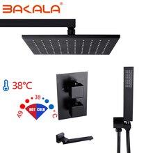 BAKALA siyah pirinç termostatik musluk banyo musluk seti termostatik karışım vanası 8/10/12 inç yağış duş başlığı