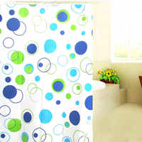 Bathroom Shower Curtain 150*150cm Bath Cutain Accessory Waterproof Polyester Fabric Mould Proof with 10 Hooks