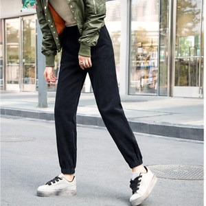 Image 3 - Pantalones de pana para mujer, pantalón de cintura alta, de talla grande pantalones bombachos, monos de moda, pantalones de viga para mujer, Otoño Invierno