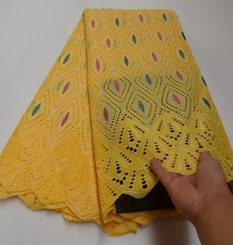 Latest african cord lace fabric African swiss voile lace faric yellow color high quality swiss voile lace in switzerland TS8606