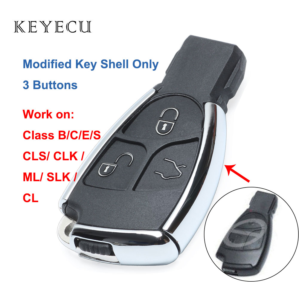 Keyecu Modified New Smart <font><b>Remote</b></font> <font><b>Key</b></font> Shell Case Fob 3 Buttons for Mercedes Benz C B E Class W203 <font><b>W211</b></font> W204 CLS CLK image
