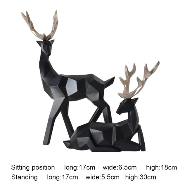 2Pcs Deer Statue Nordic Decoration Home Decor Statues Geometric Resin Deer Figure/Figurines/Sculpture Modern Decoration Abstract 6
