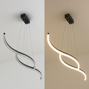 Image 4 - Minimalism modern led pendant lights for dining room kitchen black/white aluminum Pendant lamp suspension luminaire lustre led