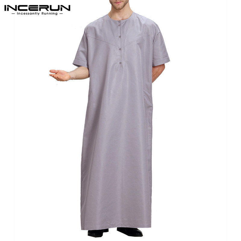 INCERUN Men Ialamic Muslim Arabic Kaftan Clothing Short Sleeve Solid Color Button Arabic Dubai Men Robes Jubba Thobe Abaya 2020