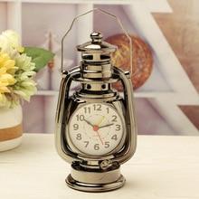 Vintage reloj de alarma Retro lámpara de aceite alarma reloj de mesa de lámpara de queroseno reloj Decoración Para sala de estar artículos de oficina adorno artesanal