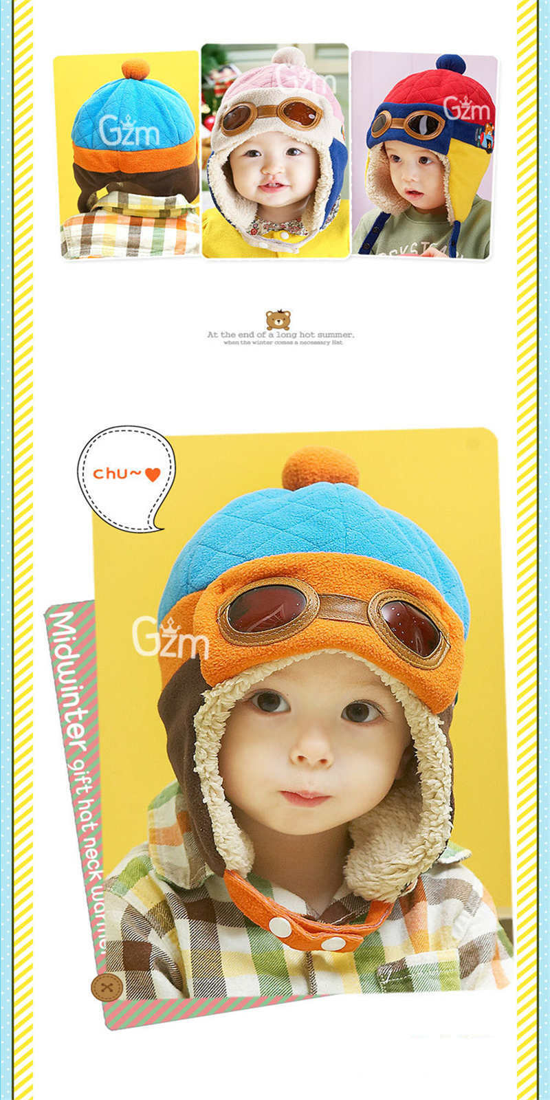Children Toy Caps Winter Warm Baby Hats Toddlers Boys Girls Pilot Caps Eargflap Hat Winter Warm Cap Child Holiday Party Hats