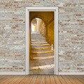 Ретро пейзаж дверь росписи туннель Пол шаг 3D дверь стикер DIY самоклеющиеся водонепроницаемые обои Poste для украшения дома
