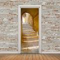 Retro Landschaft Tür Wandbild Tunnel Boden Schritt 3D Tür Aufkleber DIY Self adhesive Wasserdichte Tapete Poste für Home Dekoration|Türaufkleber|Heim und Garten -
