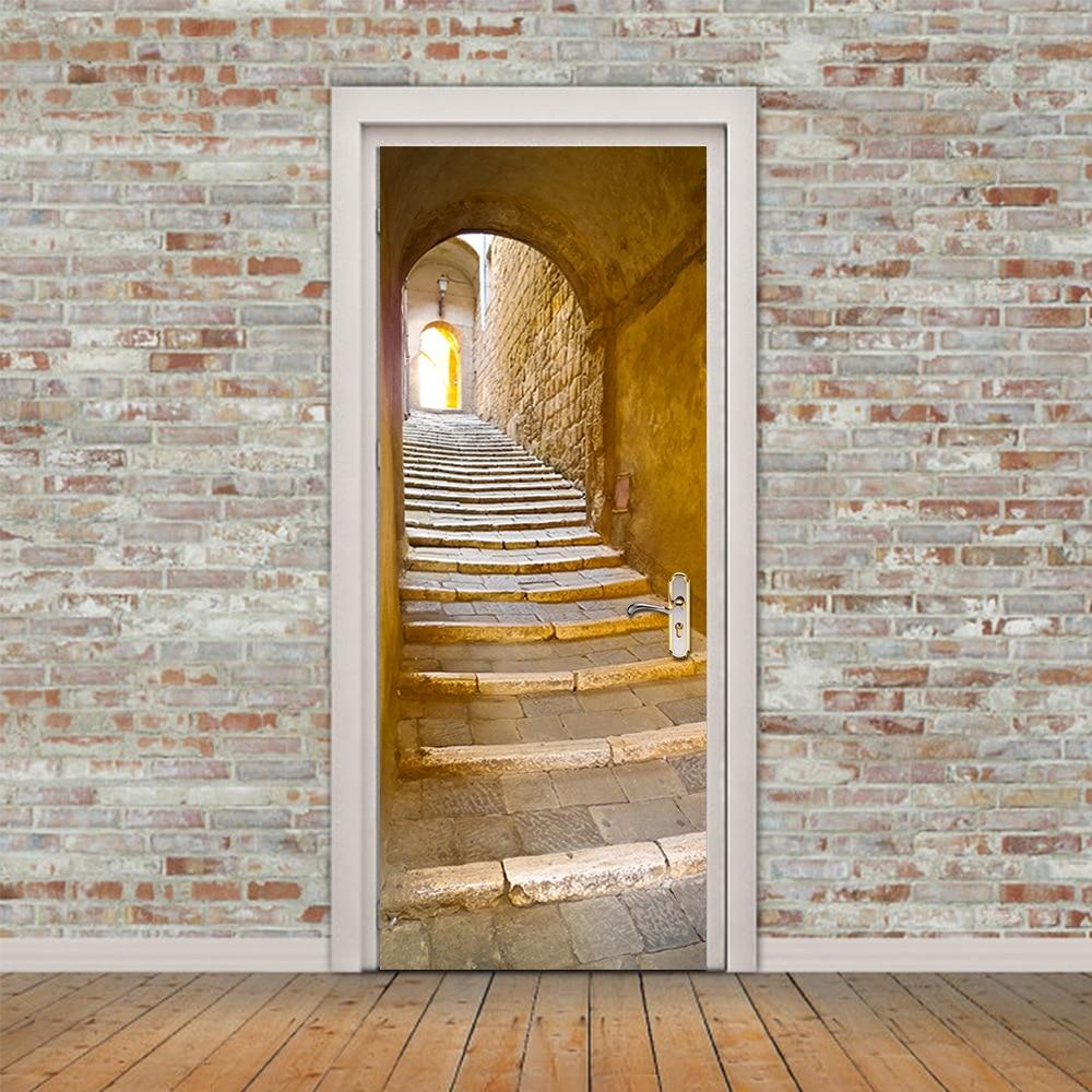 Retro Landschap Deur Muurschildering Tunnel Floor Stap 3D Deur Sticker DIY zelfklevende Waterdicht Behang Poste voor Home Decoratie