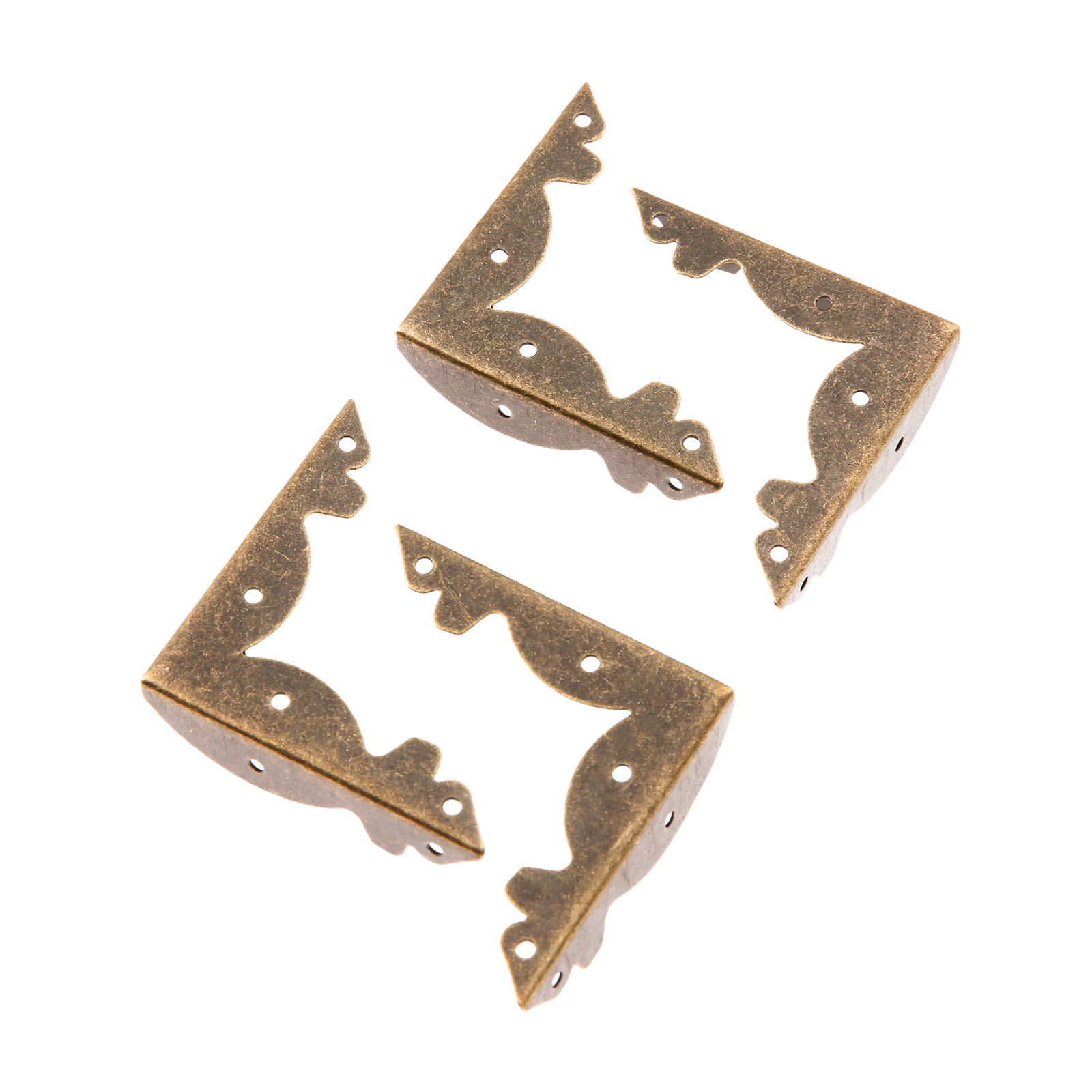4Pcs Antique Bronze Jewelry Chest Gift Box Wooden Case Decorative Feet Leg Metal Corner Protector Support Bracket W/Screws 36mm