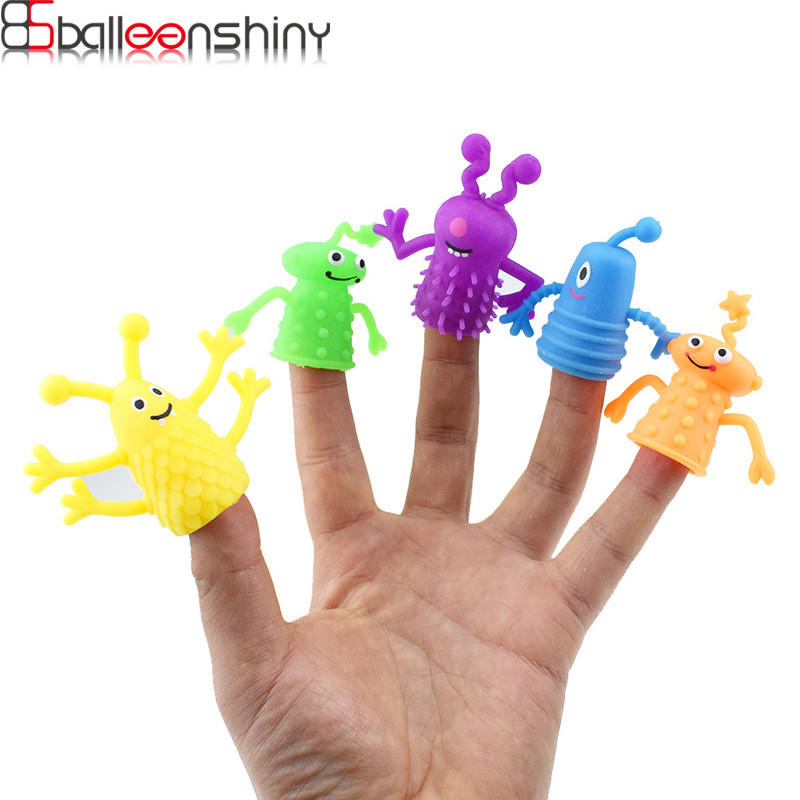 BalleenShiny 4Pcs/Set Cute Monster Hand Puppets Kids Funny Toys Finger Toy Children Animal Dolls Baby Educational Toys Gifts