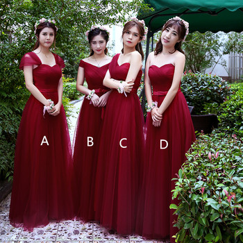 Holievery Tulle Long Bridesmaid Dresses with Bow 2020 Dark Red Floor Length Wedding Party Dress Mixed Style