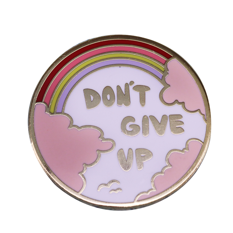 Don/'t give up Pink Rainbow Pin button badge mental health awareness