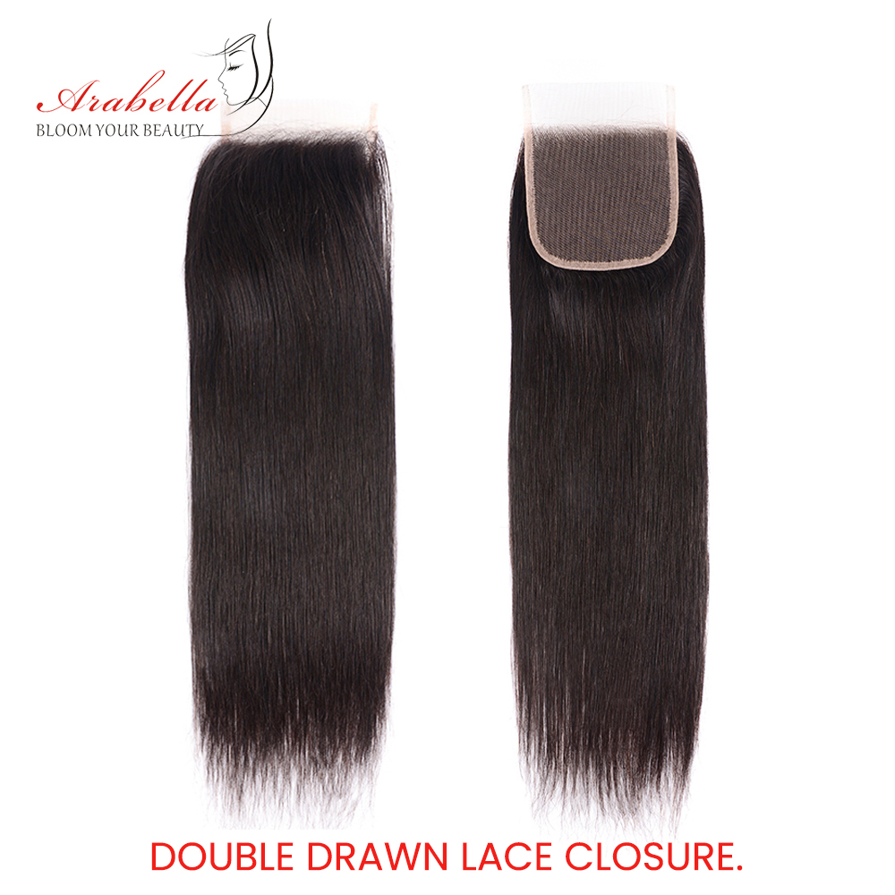 Super Double Drawn Hair Bundles With Closure PrePlucked Bleached Knots Arabella Virgin Hair  With 4*4 Double Drawn Closure 3