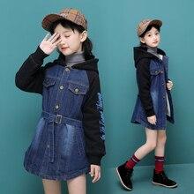 2019 children kids girls denim jacket large fur collar cotton denim outerwear Autumn Winter plus thick velvet jacket for girls