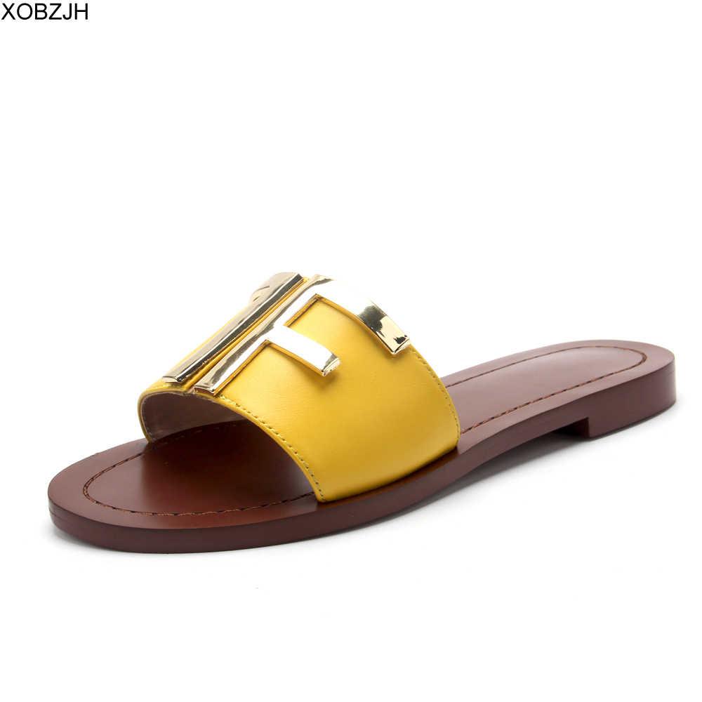 Düz kadın yaz siyah sandalet ayakkabı tasarımcısı sandalet kadınlar lüks 2019 marka logosu sandalet hakiki deri terlik ayakkabı kadın