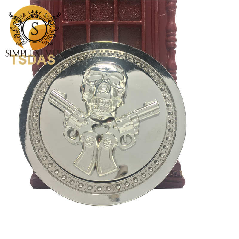 1 Pcs Round Gun Skull Silver Belt Buckle For Men, Men's Western Cowboy Belt Buckle Head Suit For 3.8-4cm Belt