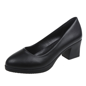 Image 2 - Rimocy office lady classic black leather pumps 2019 spring 5cm square heels slip on working shoes woman casual all match sandals