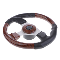 32cm PVC Leather Wooden 3 Spoke 3/4'' Marine Boat Steering Wheel with Center Cap