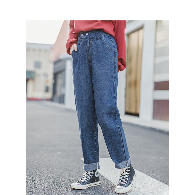 INMAN 2020 Spring New Arrival Retro Dubble Button Loose Slim Women Tapered Jeans