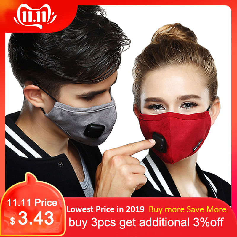Kpop Anti Dust PM2.5 Flu Mouth Face Mask With Carbon Filter Cloth Respirator Medical Black Mask On The Lips For Winter Running