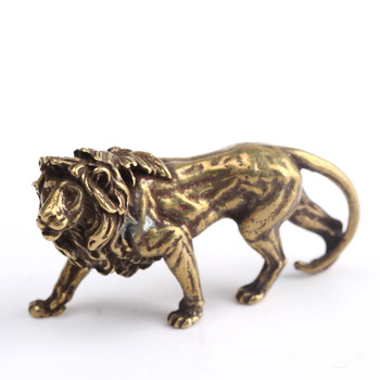 Lion King Miniatures Desk Decorations Anitique Bronze Majestic Vintage Brass Mini Animal Statue Home Decor Ornaments Figurines