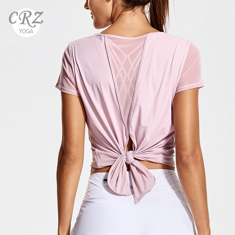 CRZ YOGA Women's Yoga Workout Mesh Shirts Activewear Sexy Open Back Sports Shirt Tops