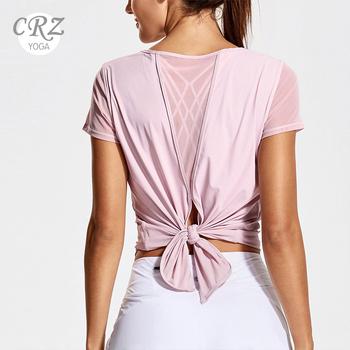 CRZ YOGA damskie treningi jogi siatkowane koszule odzież sportowa seksowna koszulka sportowa bez pleców tanie i dobre opinie WOMEN Pasuje prawda na wymiar weź swój normalny rozmiar Szybkie suche 74 Polyamide 26 Spandex R764 XXS XS S M L XL Black White Rose Blush