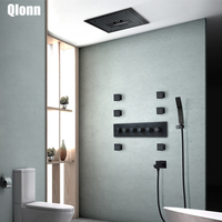 Luxury Bathroom 400*400mm Black RectangleWall mounted Shower Head Rainfall Waterfall Mist Thermostatic Brass Shower Faucets Set