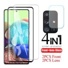 Protecteur d'écran pour Samsung Galaxy A71 5G SM-A716F A715F, 4 en 1, verre trempé de sécurité pour objectif d'appareil photo, noir HD