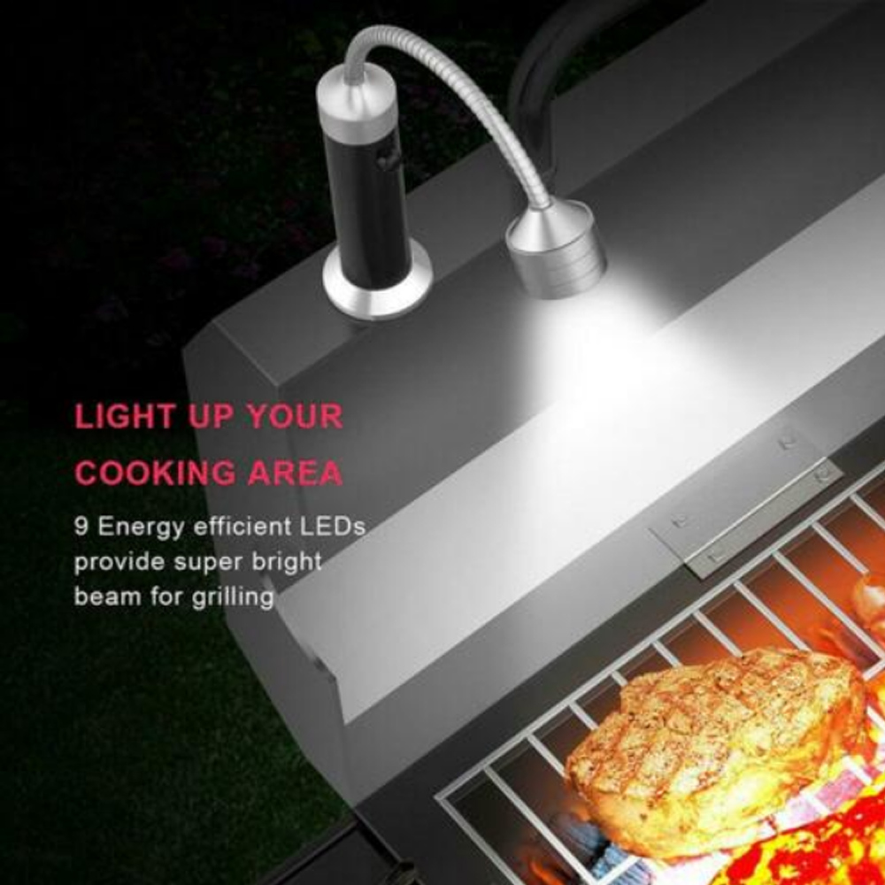 1pc Magic Outdoor Barbecue Grill BBQ Light LED Magnetic Base Flexible Gooseneck BBQ Lights for Reading Camping Working Mechanins